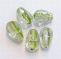 08-105 Per stuk Glaskraal India druppelvorm Lime-zilverfoille 17 mm