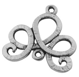 2 x Tibetaans zilveren krul tussenzetsel 21 x 21 x 1,5mm Gat: 1mm, kijk naar het 2e plaatje voor de exacte afwerking Oud zilver