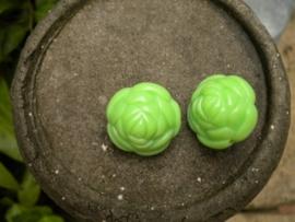 2x Prachtige grote kraal in de vorm van een roos 24x21 mm groen