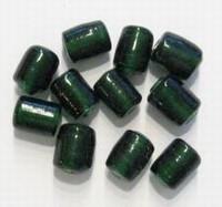 10 Stuks Glaskraal India tonnetje transparant donker-groen 10 mm