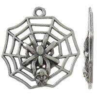 3x Tibetaans zilveren spin in web 27 x 29 x 3mm Gat: c.a. 1,5mm