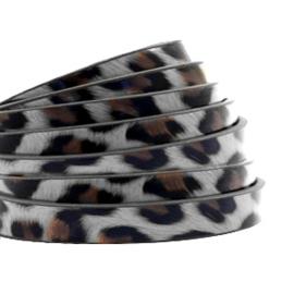 1 meter plat 5mm imi leer leopard print Graphite grey