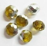 15 stuks Glaskraal facet kristal topaaz met zilverkleurige ca 6 mm