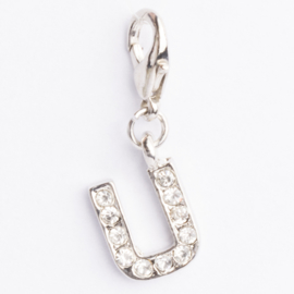 Be Charmed letter U bedel met karabijnsluiting zilver met een rhodium laag (nikkelvrij)