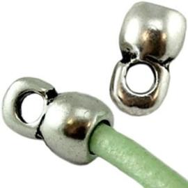 2x Eindkapjes DQ Antiek zilver voor 4 mm leer 10x6 mm Ø 4.0 mm