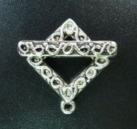 4 x tibetaans zilveren vierkante sluitingafm. oogje 18mm, stang: 24mm