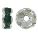 50 stuks Verzilverde Kristal Rondellen 7 mm groen
