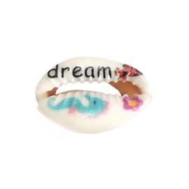 5 x handbeschilderde kauri schelp kralen met motief 25 x 17mm-18mm x 14mm dream