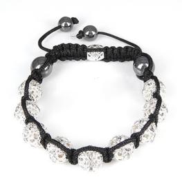 Prachtige Shamballa armband met 10mm strass rondelle kralen en echte hematiet kralen
