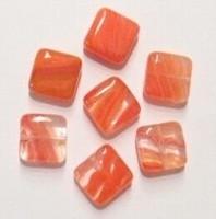 10 Stuks Glaskraal plat vierkant transparant oranje-rood/wit 10 mm