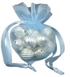 20 stuks luxe hartvormige organza zakjes 10cm x 8.75cm licht blauw