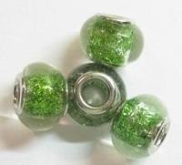 Per stuk Glaskraal European-style Groen met glitters 14 mm