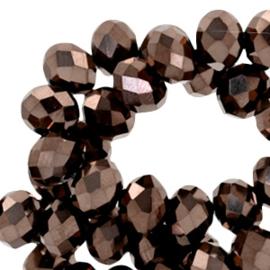 10 stuks  Top Facet kralen 8x6 mm disc Brown metallic