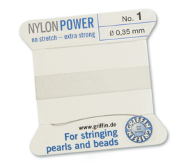 Griffin Nylon Power no stretch - extra strong 2 meter met naald  No: 1 Ø 0,35mm wit