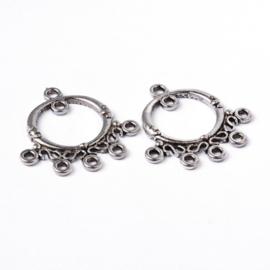 2 prachtige verzilverde oorbellen ornamenten 25 x 25 x 3mm oogjes: 1,5mm