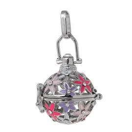 Engelenroeper hanger  geschikt voor 16mm klankbolletje platinum met strass steentjes en emaille bloemen