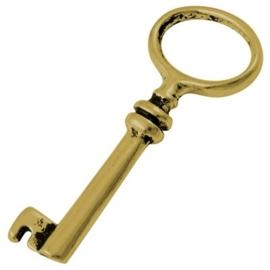 2 x Tibetaans zilveren sleutel goudkleur  41 x 17 x 4,5mm