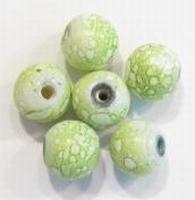 10 Miracle bead rond gemarmerd licht groen 10 mm