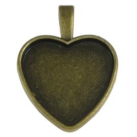 Houder hart geel koper kleur binnenzijde c.a. 25 x 26mm