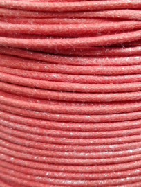 Wax-koord Metallic oranje/roze 1mm Per meter (op = op!)