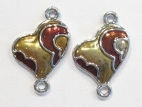 Per stuk Metalen tussenzetsel hart met Goud/bruine epoxy 28 mm