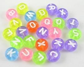 1 keer letter kraal 7mm Gat 1mm acryl mix, u krijgt een willekeurige kleur uit een mix