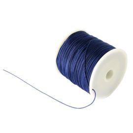 1 rol 90 meter gevlochten nylon koord, imitatie zijden draad 0,8mm prussian blue