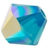 10 x Preciosa Kristal Bicone kraal 8mm Aquamarine AB