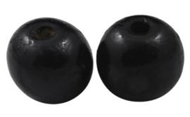 10 keer ronde houten kraal 8 mm zwart