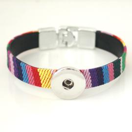 Armband stof regenboog 1 click 18 mm