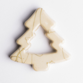5 x luxe acryl kraal kerstboom 41 x 40 x 6mm kleur: creme  gat: 3mm