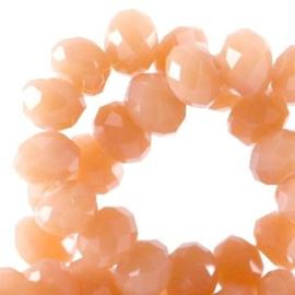 15 x Top Facet kralen 6x4 mm disc Vintage orange opaque - Diamond coating