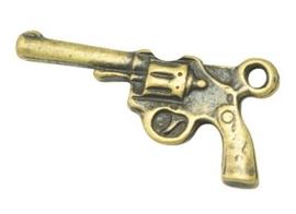 4 x  tibetaans zilveren bedeltje goud kleur van een pistool revolver 23,5 x 12 x 3mm gat: 2mm