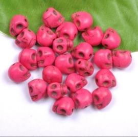 10 keramiek Howlite skulls fuchsia c.a. 10mm Gat: 1mm