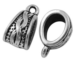 10 x Tibetaans zilveren bails hanger 14 x 7,5 x  9mm gat: 1,5mm