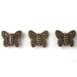 10 x Tibetaans zilveren vlinderkralen 10x8 mm per stuk geel koper