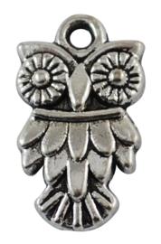 Tibetaans zilveren uil 20 x 11 x 2mm Gat 2mm
