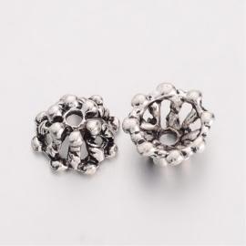 10 stuks tibetaans zilveren kralenkapjes 11 x 10 x 6mm Gat: 1,5mm