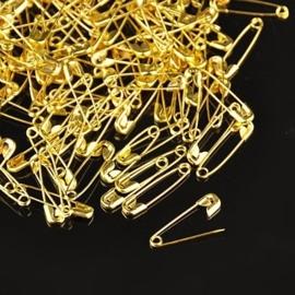 Zakje met 100 veiligheidsspelden (klein)  20 x 5 x 1.5m goudkleur