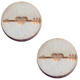 2 x Houten cabochon basic 12 mm arrow&heart Grey