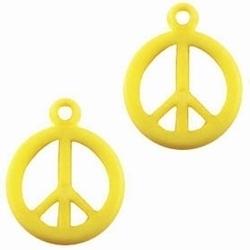 10 Stuks Kunststof hanger Peace Geel 17 mm
