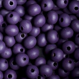 20 x Houten kraal  8mm kleur: paars gat: 2mm