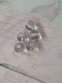 5x mooie transparante glaskraal met glans 7 x 6 mm gat : 1 mm