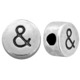 4 x  plus & teken voor tussen de letterkralen metaal 7mm Gat: 2mm