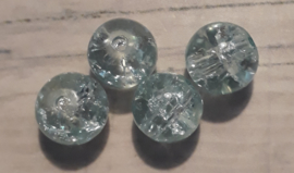 10 x Mooie crackle glaskraal lichtblauw 8 x 6 mm gat: 1 mm