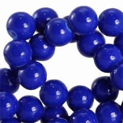 15 stuks Glaskraal rond met keramiek coating Kobald Blauw. 8 mm