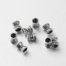 10 x Tibetaans Zilveren dubbele kralenkapjes antiek zilver 6,5 x 5mm Gat: 1.5~3.5mm