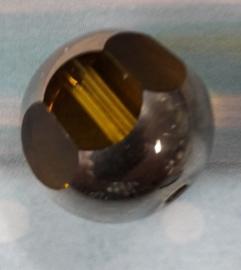 10 Stuks bruine facet glaskraal met metaal look 12mm Gat: 2mm