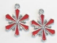 2 x Zilverkleurig metalen bloem met rode epoxy 26 mm