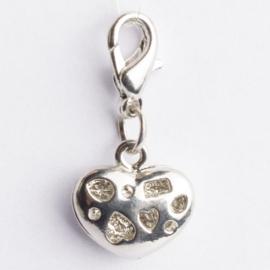 Be Charmed bedel hartje met karabijnsluiting zilver met een rhodium laag (nikkelvrij)